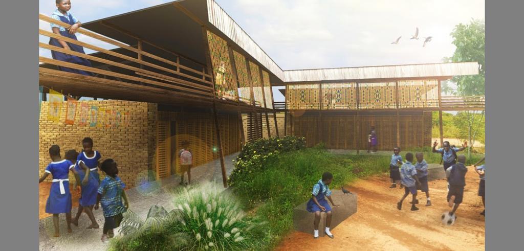 Children play in a modern schoolyard in rural Ghana