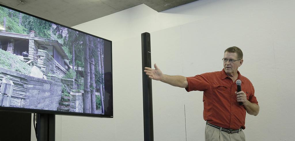 Gary DeVore presenting on the Lynn Hall restoration project