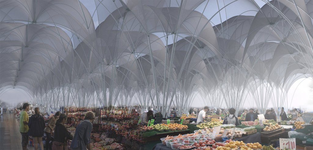 Drawing of a fruit and vegetable market under many arches canopies