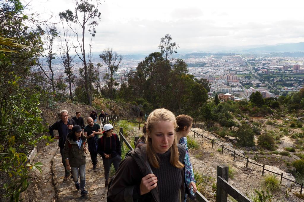 Graduate students in architecture hike above Bogotá, Colombia