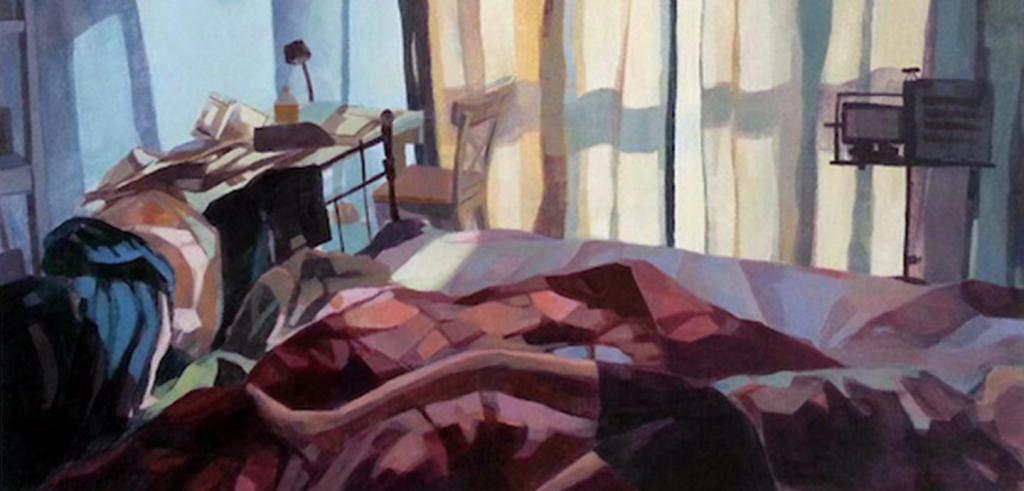 Painting of a bedroom with a red and purple blanket thrown on the bed with clothes covering a desk and light coming in from a curtained window.