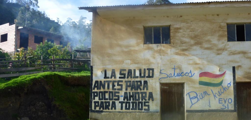 Pro-Evo Morales government graffiti in a small rural town in Bolivia