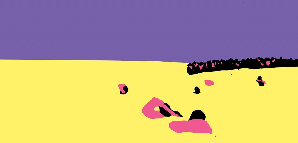 Purple and yellow background with black and pink abstract shapes.