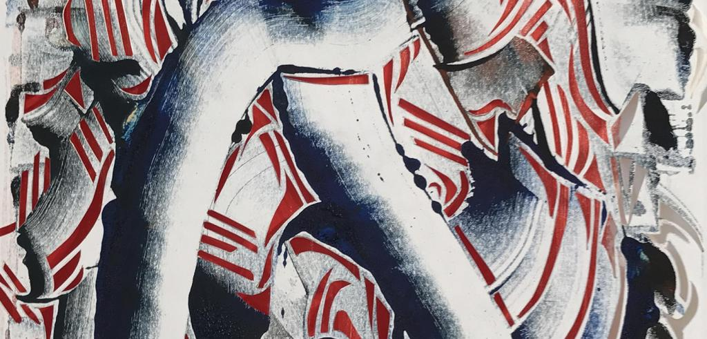 Abstract painting with black, white, grey and red swirly shapes.