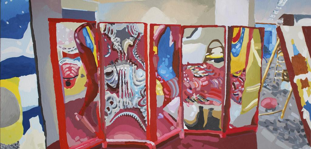 Painting with bright colors, red, blue, yellow, white, grey depicting a multicolored partition in an art studio.