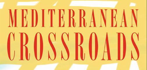 Yellow book cover with Mediterranean Crossroads title in red