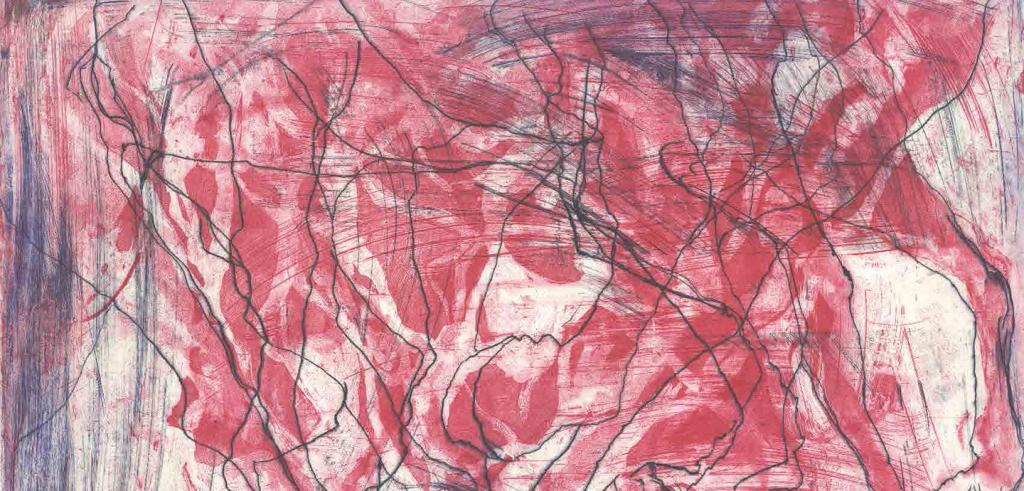 Abstract black drawing with red color blotted within sections of the drawing.