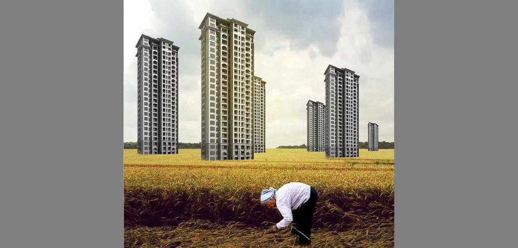 drawing of a woman bent over agricultural fields with 6 residential towers in the background