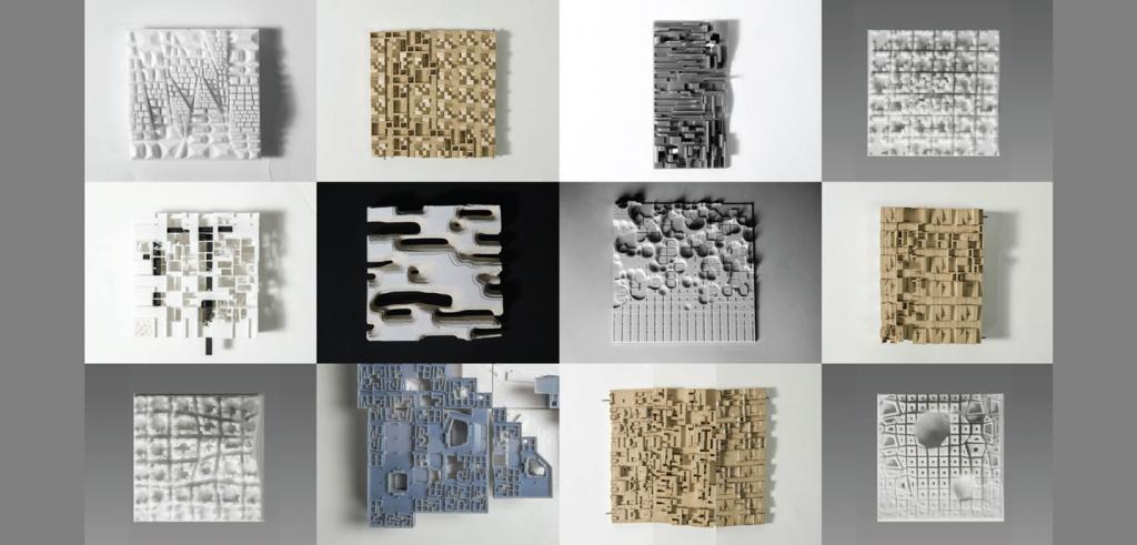 12 square photos of flat, textured constructions