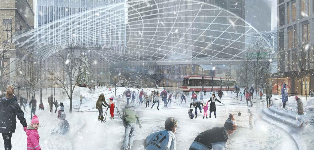 rendering showing a public ice skating rink surrounded by shops