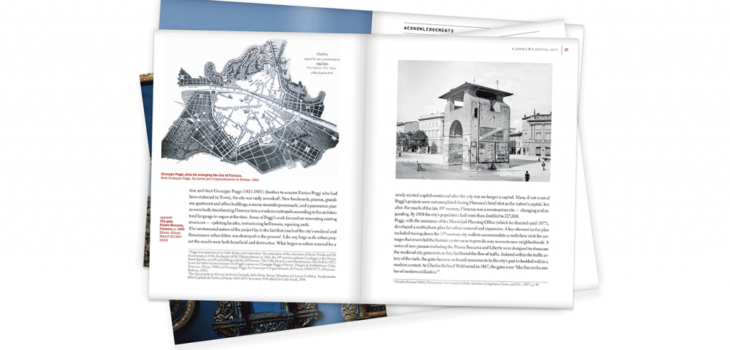 book opened to pages with text, a map, and a photo of a masonry building