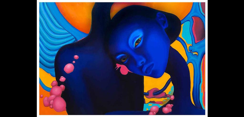 Painting with a dark blue face with a long skinny neck and a brightly colored abstract background with orange, blue, and pink.