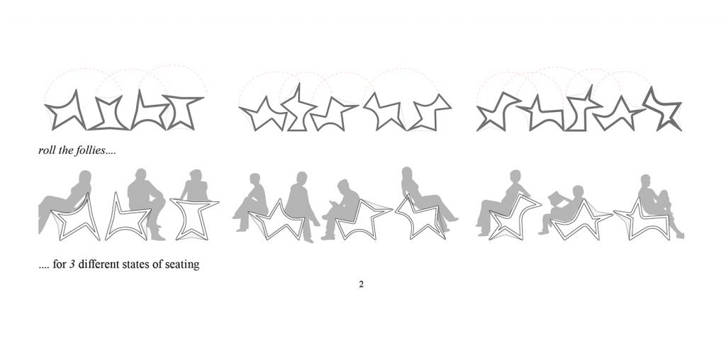 Drawing of star-shaped chairs and human figures in profile demonstrating various seating configurations