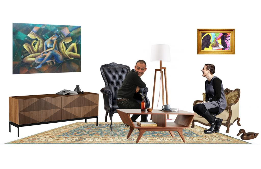 a computer generated collage of a living room with a seated man and woman