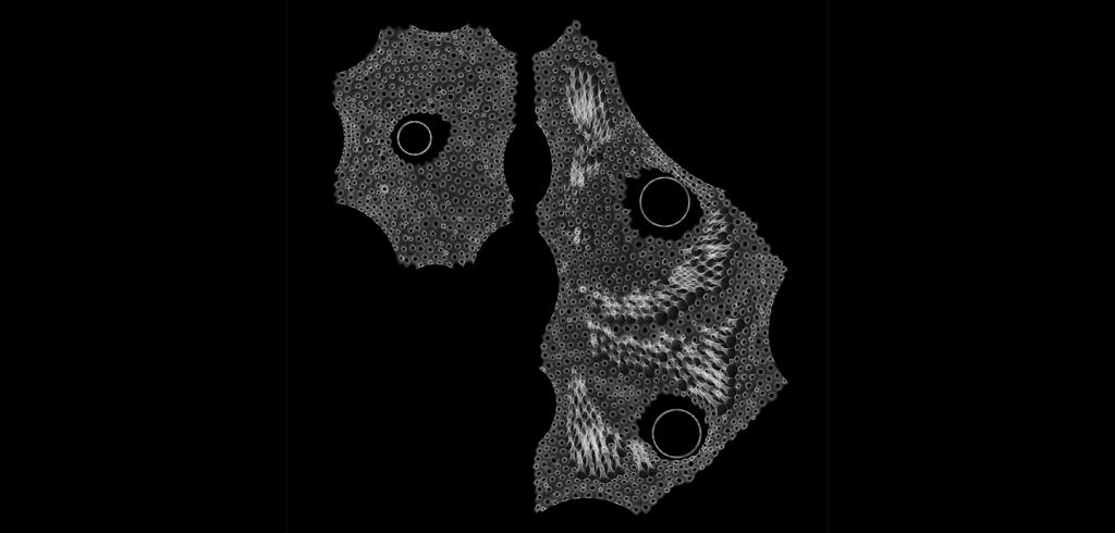 two abstract white-on-black shapes with threads and holes