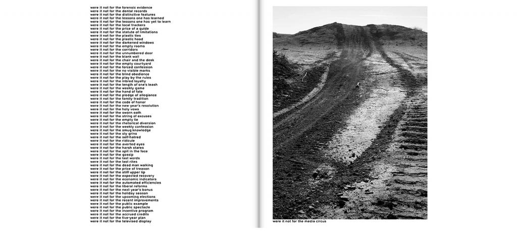 two pages of a book side by side text on left black and white image of tire tracks on right