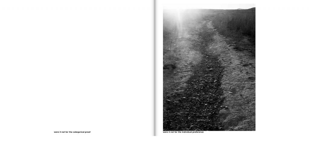 two pages of a book side by side text on left black and white image of a stone path