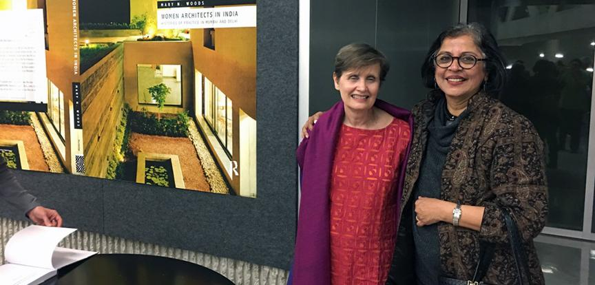 Mary N. Woods and keynote speaker Brinda Somoya at the Currents in Indian Arcihtecture symposium