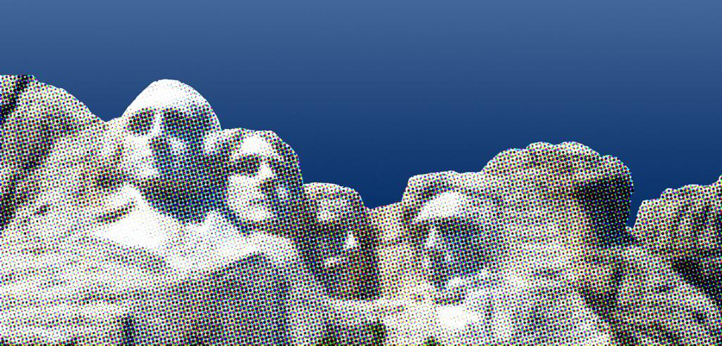A pixelated image of Mount Rushmore set against a clear blue sky.