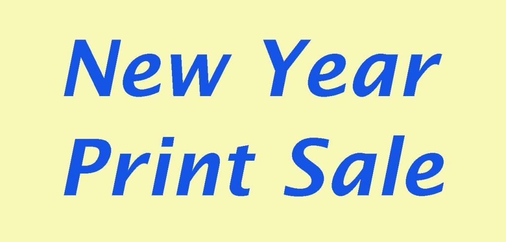 Pale yellow background with blue text reading new year print sale.