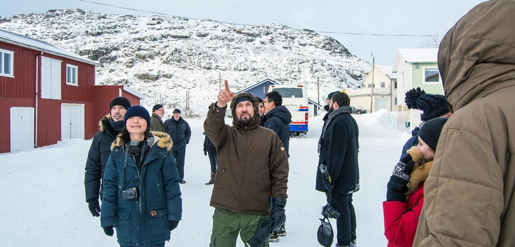 Students and professors tour a village in northern Norway
