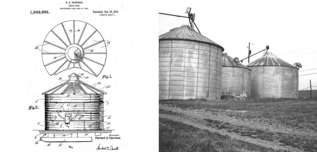 historic diagram and photo of grain bins