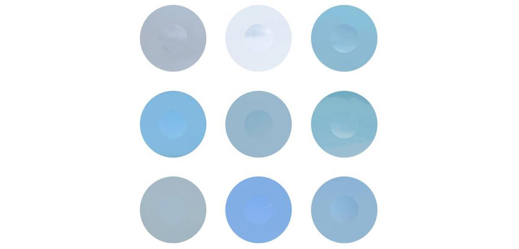 A palette of nine shades of blue and grey