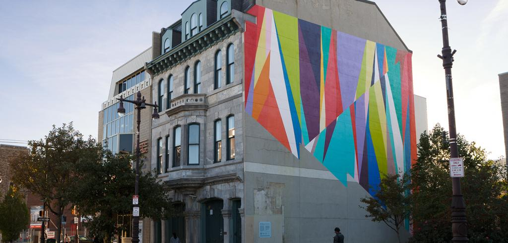 painting by Odili Donald Odita on the side of a building