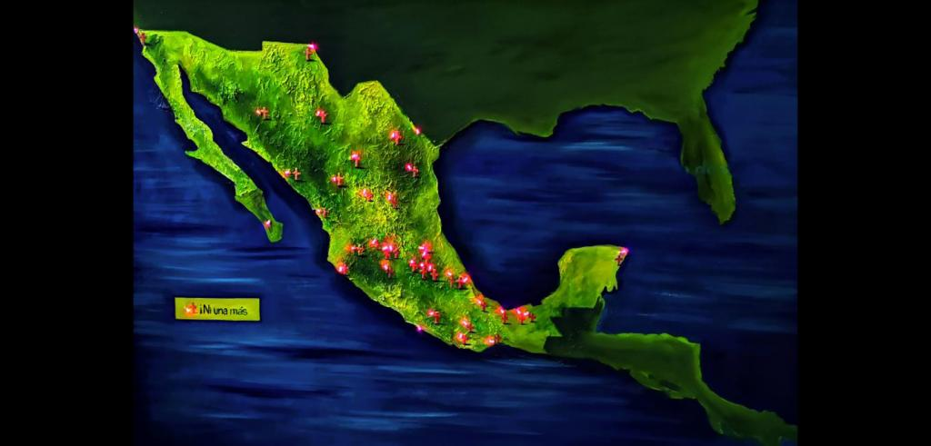 Red explosions dot the landscape on a relief map of Central America