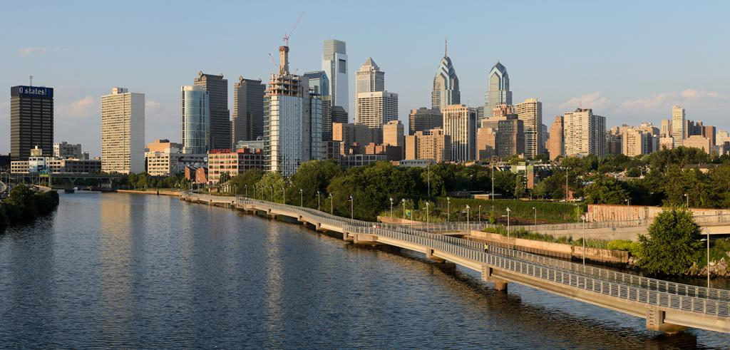 view of Philadelphia from the South Street Bridge