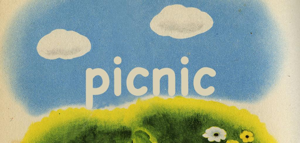A depiction of two clouds in a blue sky with green grass and flowers below, in the middle is the word 'picnic'.
