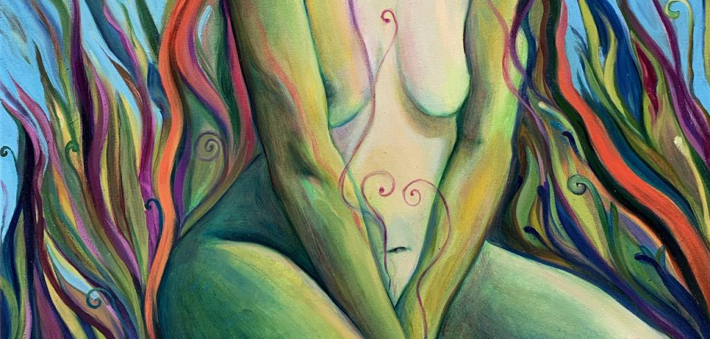 A nude woman's lower portion of her body sitting with her arms between her legs, body colored in blue, green yellow tint, with swirls of red, orange, yellow, purple, green and blue behind her.