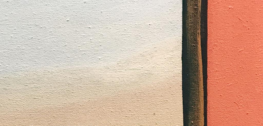 Painting of a white and cream rectangle with a brown stripe separating it from a salmon colored rectangle.
