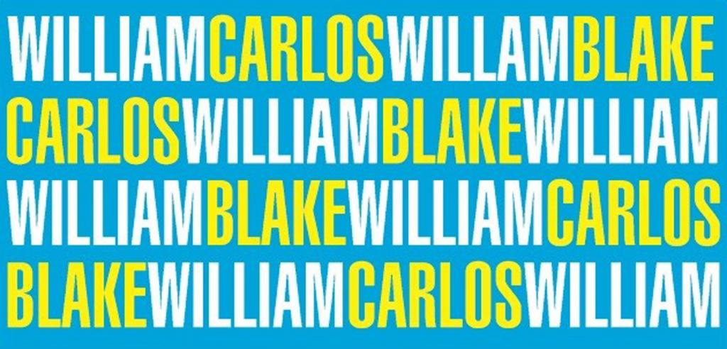 Blue background with William Carlos and William Blake written in white and yellow