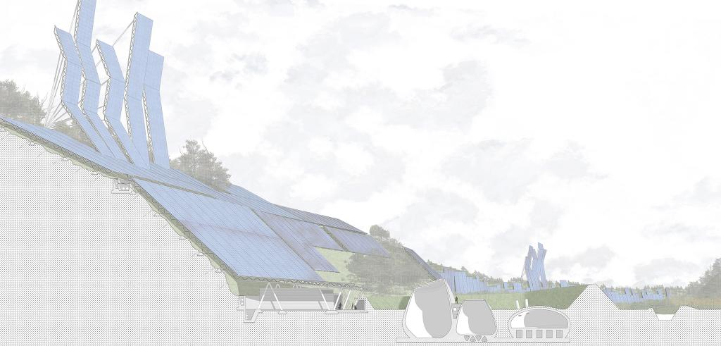 rendering of solar panels on the side of a valley