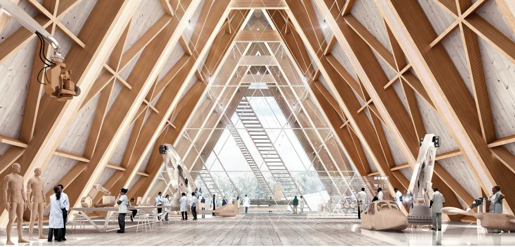 Rendering of the Interior of wooden cathedral