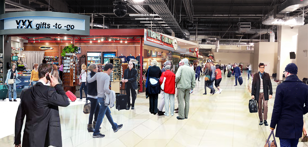 drawing of men and women walking and standing in an interior food court