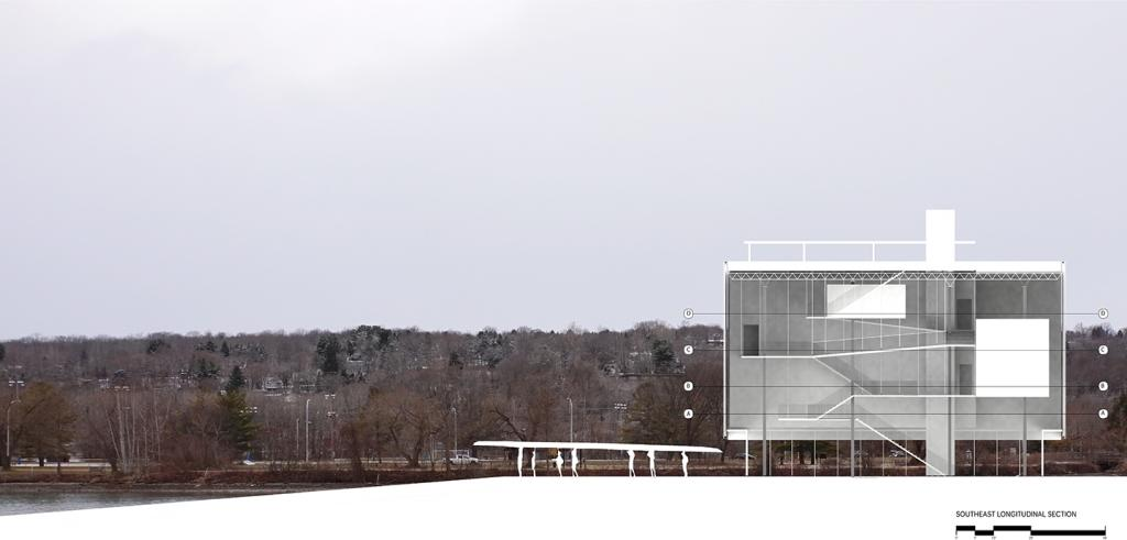 rendering of a multistory white boathouse with forest behind it