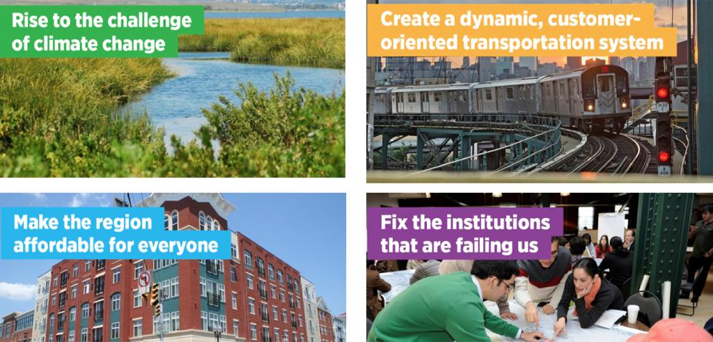 a slide with four images and the headings climate change, transportaion, affordable housing, fix institutions