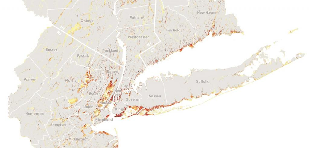 map of New York City tri-state area with coastal areas shaded in yellow, orange, or red to show climate change impact