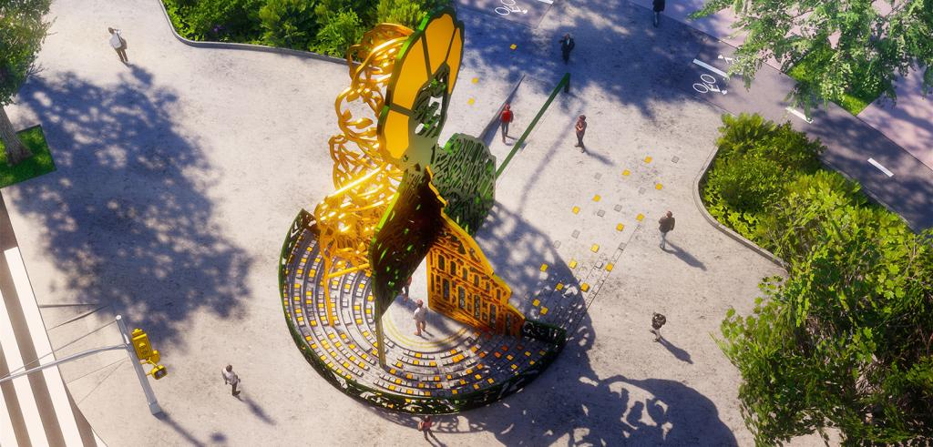 Rendering of a golden pedastal statue in a park with a ring of seating around it