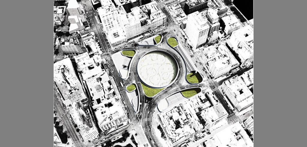 Aerial rendering of a city block with a circular park bounded by a multi-lane roadway.