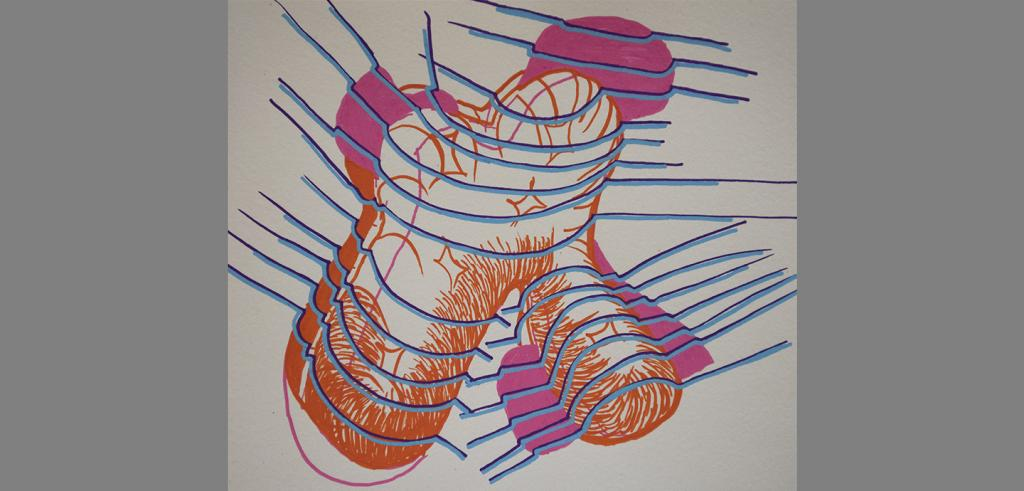 Abstract shape drawn with two legs in orange with a pink shadow behind it and blue parallel lines covering object.