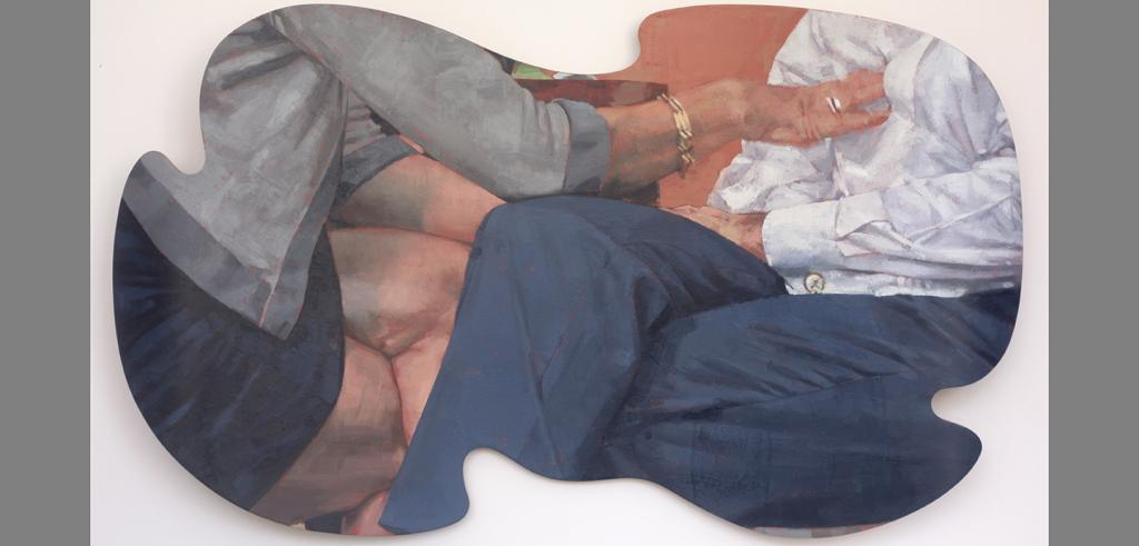painting of the torsos of a man and woman seated across from each other and the woman touching the man's chest
