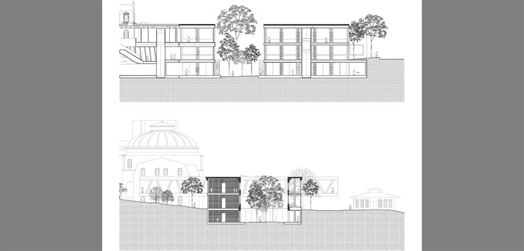 Two architectural renderings of old and new buildings