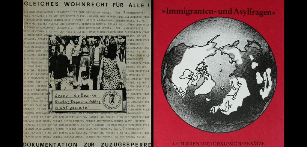 An old newspaper photo of protesters surrounded by printed text and a black and white globe of the word on a red backgroundand a drawing