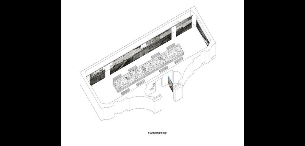 drawing of an oblong shaped exhibition space