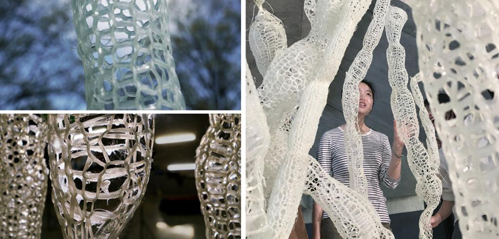 Three photos of knitted tubes covered with resin, a woman standing behind them