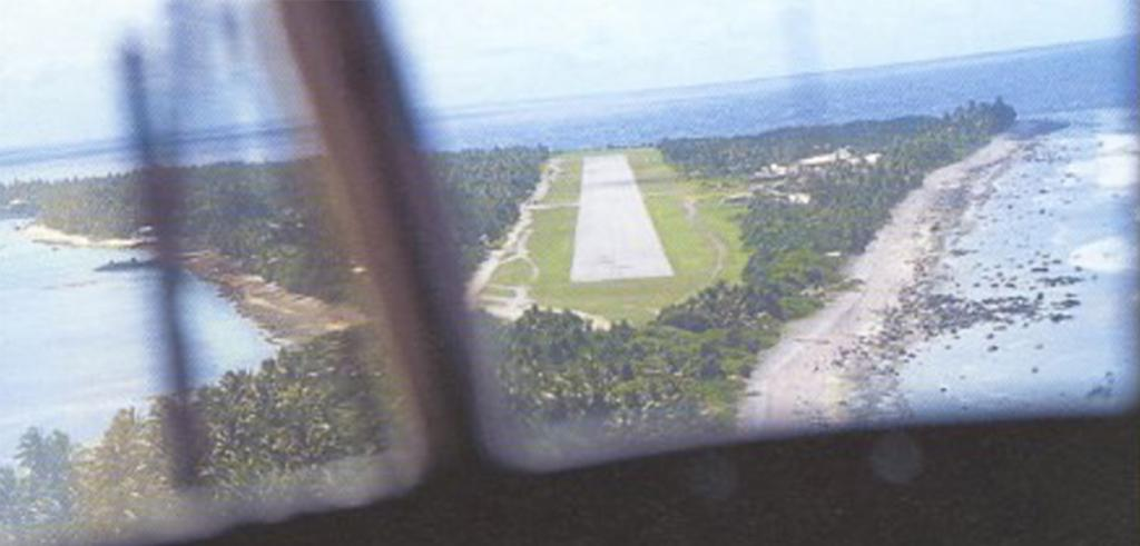 A runway on a very small flat island