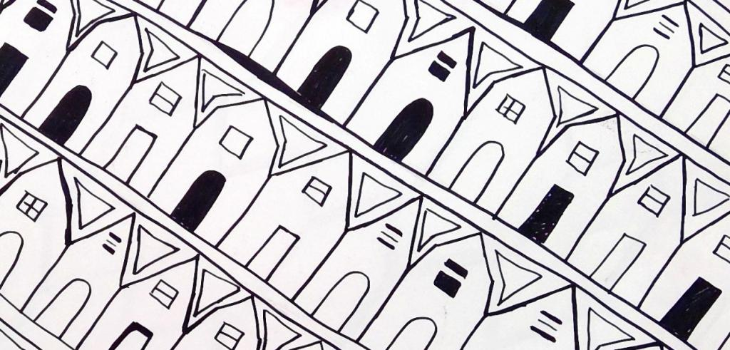 Black and white repetitive drawing of houses next to each other in a row angling downwards.
